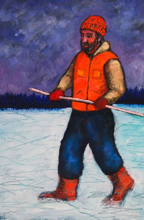 ED NADEAU Crossing the Lake, oil on panel, 9 x 6 inches