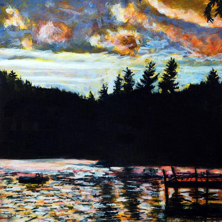 ED NADEAU Evening Sun #1, Long Pond, acrylic on panel, 6 x 6 inches