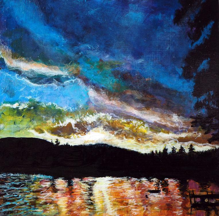 ED NADEAU Evening Sun #3, Long Pond, acrylic on panel, 6 x 6 inches