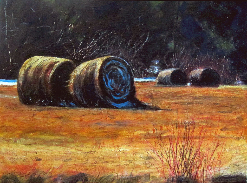 ED NADEAU Four Bales Early Spring, oil on canvas, 9 x 12 inches