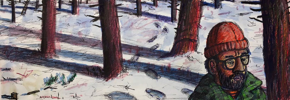 ED NADEAU Man Walking in the Wilderness, watercolor, 5 x 14 inches
