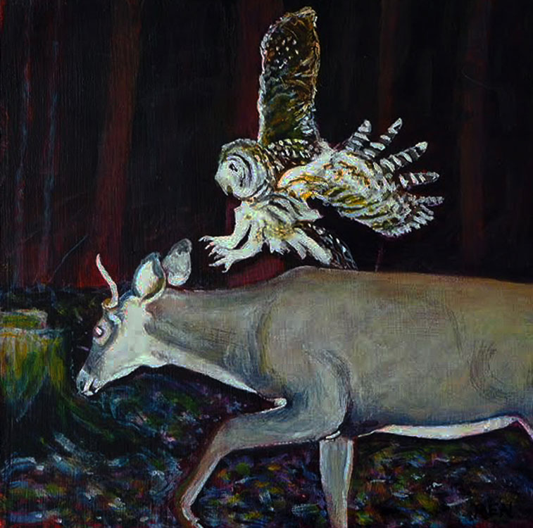 ED NADEAU Owl and Pronghorn, oil on panel, 6 x 6 inches