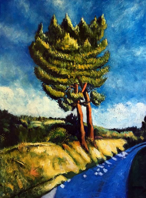 ED NADEAU Roman Road Evening Sun, Kahtadin, oil on canvas, 24 x 18 inches