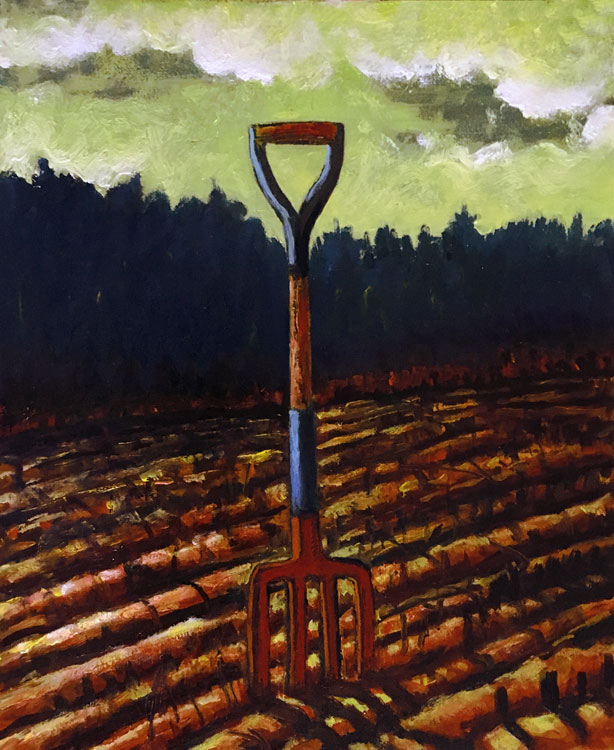 ED NADEAU The Pitchfork, oil on panel, 12 x 10 inches