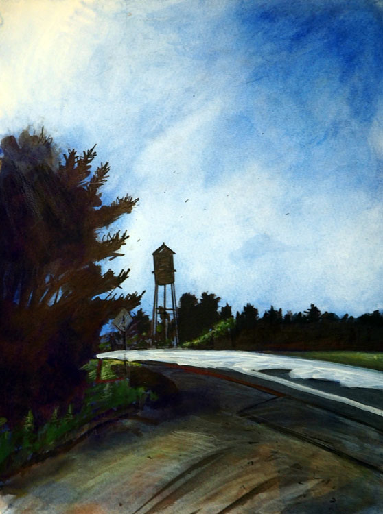 ED NADEAU The Water Tower, watercolor, 12 x 9 inches