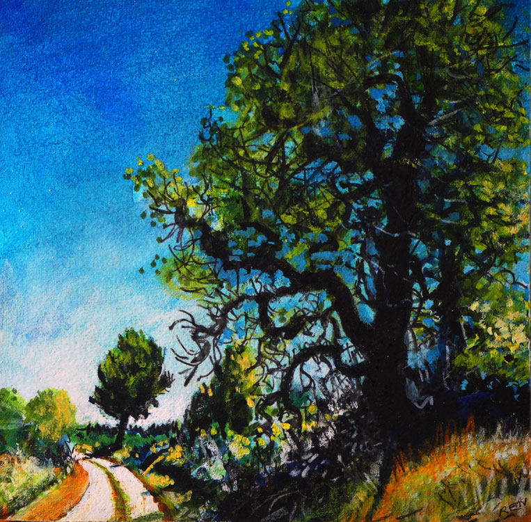 ED NADEAU Walnut Tree on the Roman Road, mixed media on panel, 6 x 6 inches