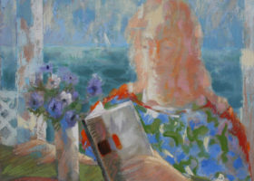 CARL NELSON Summer Reading, oil on canvas, 25 x 30 inches