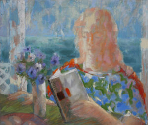 CARL NELSON Summer Reading oil on canvas, 25 x 30 inches