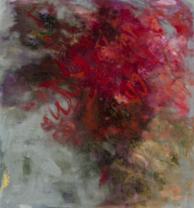 LINDA PACKARD Love Burning Bright oil on canvas mounted to panel, 29 x 27 inches