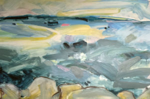 LINDA PACKARD Restless Sea oil on yupo, 19.5 x 12.5 inches