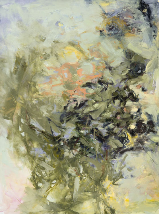 LINDA PACKARD Summer Went By In Green, oil on canvas, 48 x 36 inches