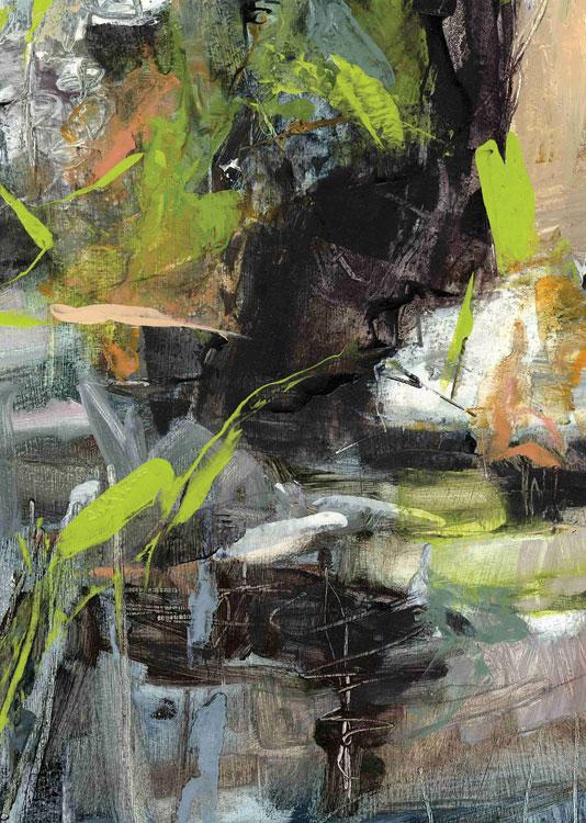 LINDA PACKARD Vernal Pool, oil on prepared paper, 6 x 4.25
