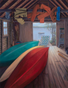 ALISON RECTOR Reverie in the Boathouse oil on linen, 28 x 36 inches $5500