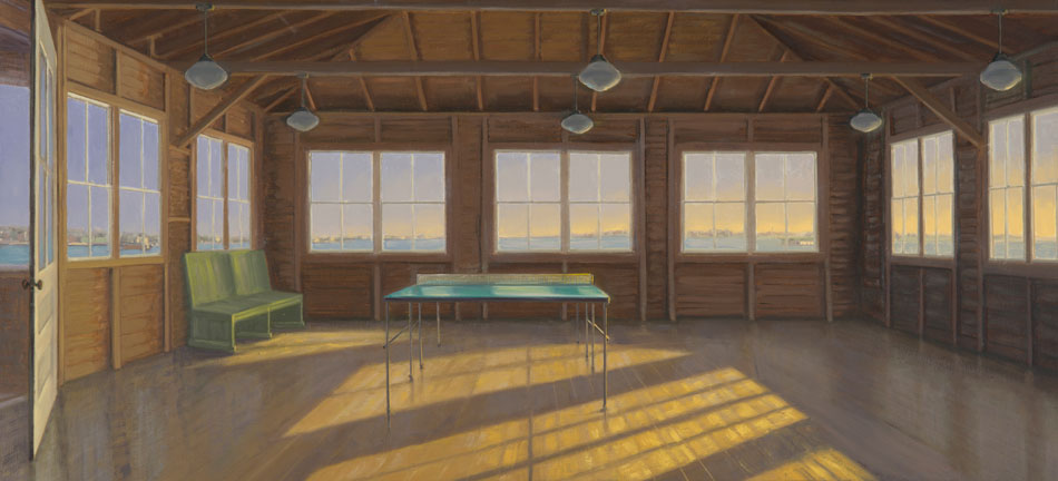 ALISON RECTOR The Radiant Island, oil on linen, 22 x 48 inches