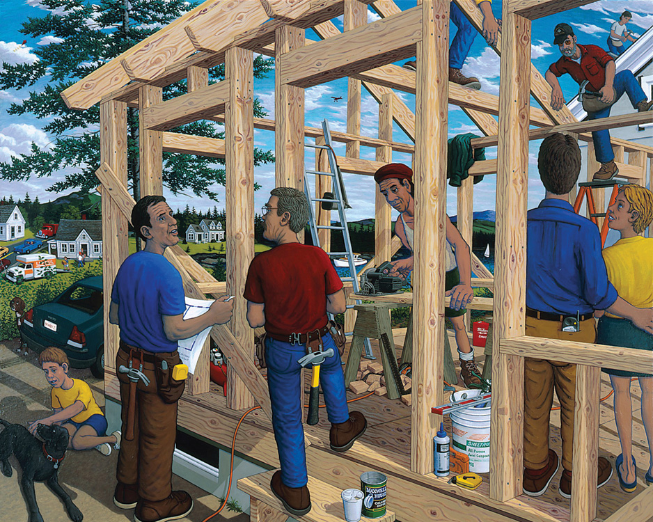 ROBERT SHILLADY The Builders, acrylic on canvas, 56 x 70 inches