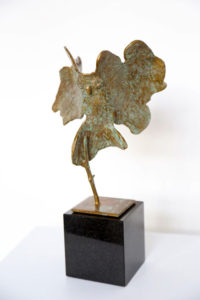 CYNTHIA STROUD Little Tufted Owl unique bronze and granite, 14 x 8 x 6 inches $3000