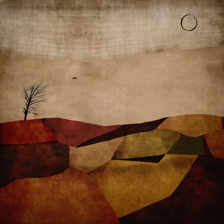 LILIAN DAY THORPE Autumn Bird Over Blueberry Fields, digital montage, 20 x 20 inches