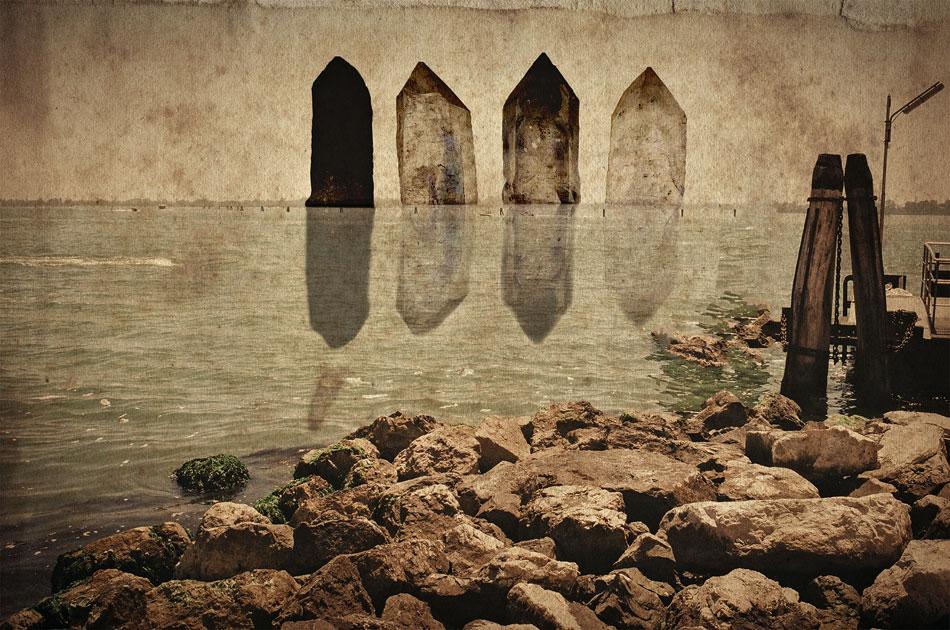 LILIAN DAY THORPE Beige Horizon, digital montage, 9.5 x 14 inches