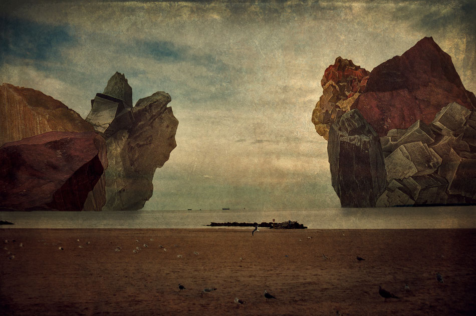 LILIAN DAY THORPE Boulders, digital montage, 9 x 13 inches