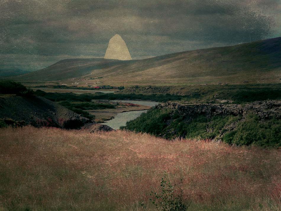 ILIAN DAY THORPE Peeking Stone, digital montage, 5.5 x 7 inches SOLD