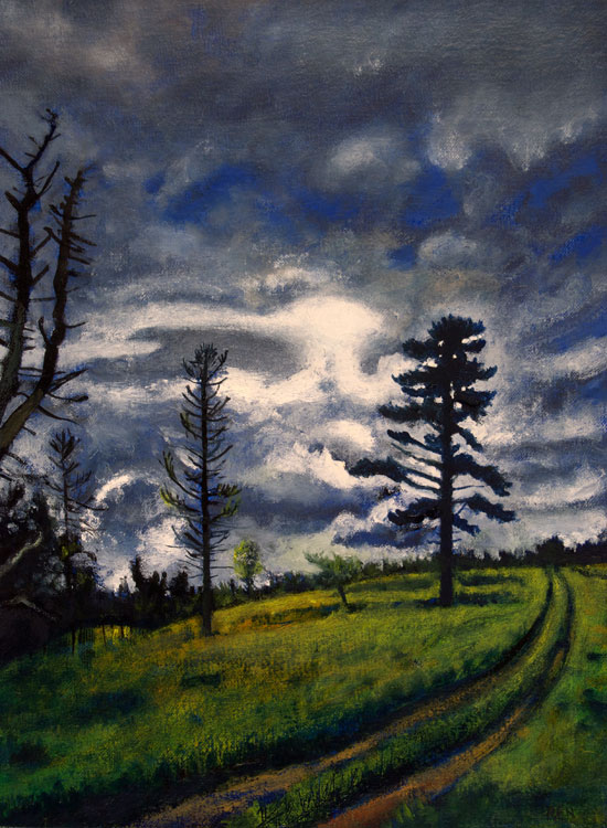 ED NADEAU Three Trees Gray Sky, oil on canvas, 16 x 12 inches