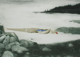CHARLES WADSWORTH Rowboat and Bouy, intaglio and collagraph, 16 x 31.5 inches