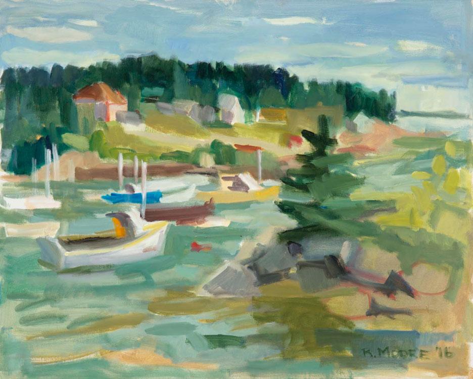 ROSIE MOORE Corea Harbor, oil on canvas, 30 x 24 inches