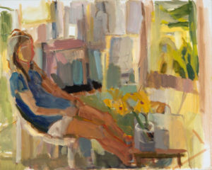 ROSIE MOORE Emily Summer Studio oil on canvas, 30 x 24 inches