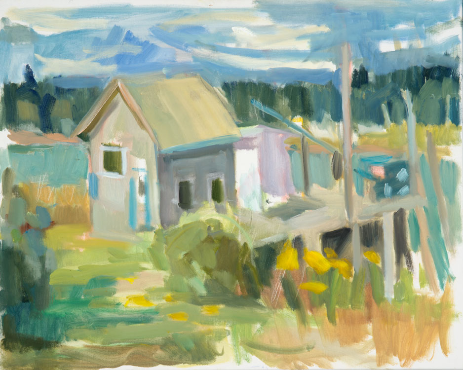 ROSIE MOORE Lobster Shack on the Dock, oil on canvas, 30 x 24 inches