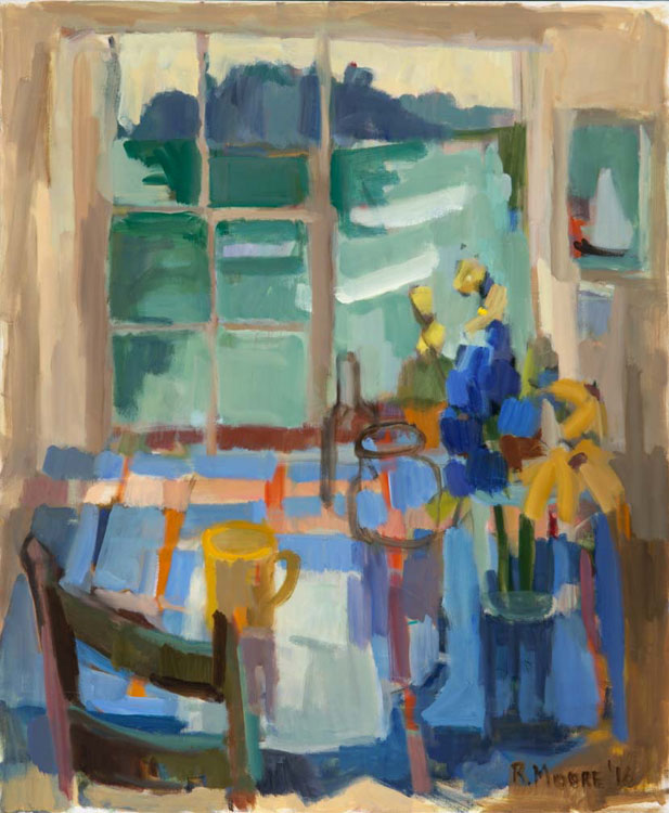ROSIE MOORE Summer Window, oil on canvas, 36 x 30 inches