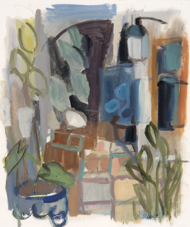 ROSIE MOORE The Courtyard, oil on paper, 15 x 18.5 inches