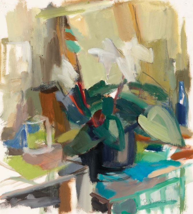 ROSIE MOORE White Cyclamen, oil on paper, 17 x 15.5 inches