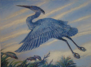 SUSAN AMONS Delft Blue Heron monoprint with pastel, 22 x 30 inches $1200