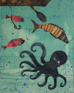 SUSAN AMONS Octopus with Fish I monoprint with pastel, 11 x 14 inches