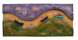 PHILIP BARTER Four Boats in Row acrylic on wood relief, 22 x 48 inches $6000