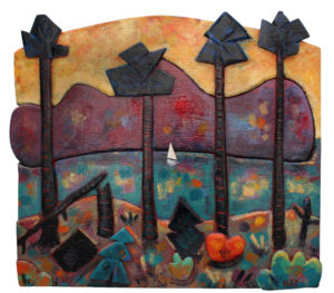 PHILIP BARTER Hog Bay with Sailboat acrylic on wood relief, 36 x 41 inches $8000
