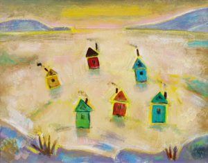 PHILIP BARTER Smelt Shacks acrylic on board, 24 x 30 inches $3200