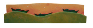 PHILIP BARTER Three Dories III acrylic on wood relief, 12.5 x 51 inches $3800