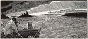 SIRI BECKMAN Approaching Storm wood engraving, edition of 100, 4.5 x 10 inches $500