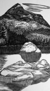 SIRI BECKMAN Basin Pond wood engraving, edition of 100, 5 x 3 inches $475 framed