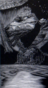 SIRI BECKMAN Before Dawn wood engraving, 5.75 x 3.25 inches