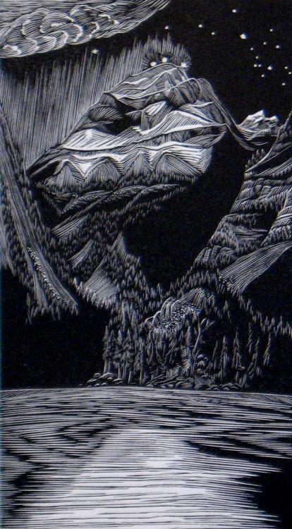 SIRI BECKMAN Before Dawn, wood engraving, 5.75 x 3.25 inches
