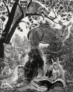 SIRI BECKMAN Blackberry and Friends wood engraving, edition of 100, 7.5 x 6 inches $550