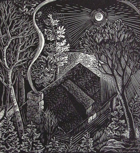 SIRI BECKMAN Cabin in the Moonlight wood engraving, edition of 100, 4.5 x 5 inches $300