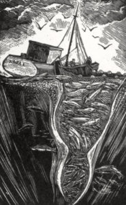 SIRI BECKMAN Cod Fishing wood engraving, 2.75 x 4.4 inches