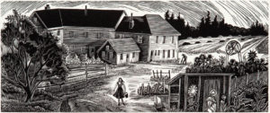 SIRI BECKMAN Farmhouse at Eagle Island, wood engraving, 2.5 x 6 inches