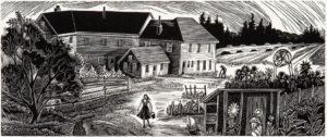 SIRI BECKMAN Farmhouse at Eagle Island, wood engraving, edition of 100, 2.5 x 6 inches $225