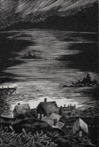 SIRI BECKMAN Fishing Village wood engraving, 3 x 2 inches