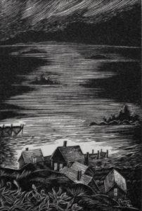 SIRI BECKMAN Fishing Village wood engraving, edition of 50, 3 x 2 inches $300