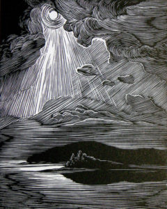 SIRI BECKMAN Moonlit Islands wood engraving, edition of 100, 4.25 x 3.25 inches $350